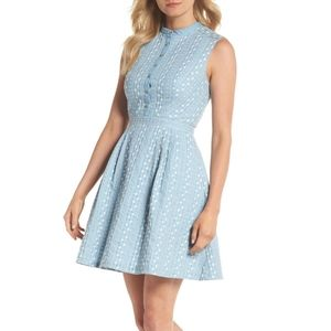 Gal Meets Glam Quinn Embroidered Chambray dress
